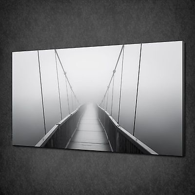 Foggy Suspension Bridge Canvas Wall Art Print Poster Picture Ready To Hang