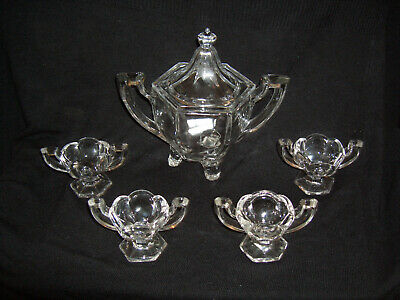 Vintage Moulded Glass – One Large Hexagonal Two-Handled Lidded Bowl & Four Bowls
