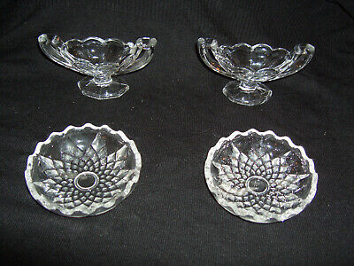 Vintage Moulded Glass – Two Small Dishes with Star Pattern & Two Small Bowls