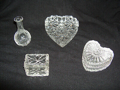 Vintage Moulded Glass – 2 Heart Shaped Dishes, 1 Miniature Vase & 1 Container
