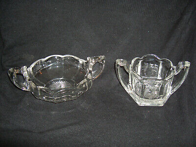 Two Vintage Moulded Glass Two-Handled Bowls