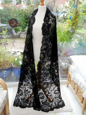 Antique Spanish Lace Stole - 300cm - Morning Glory - 1900s - Perfect Condition