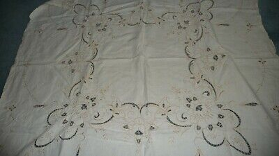 #612 vtg Tablecloth  46''x46'' OPEN CUT EMBROIDER Madeira ? Off White Tan AS IS