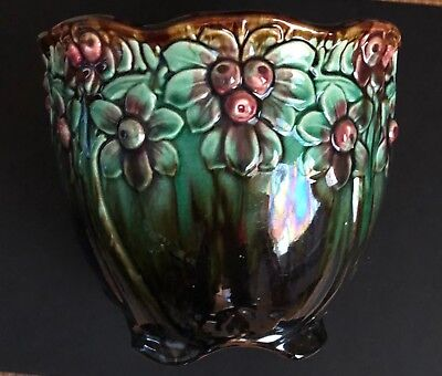 Vintage Majolica Planter Jardiniere - Dark Green Brown Pink Flowers & Leaves