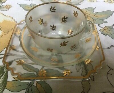 Delightful 1930s, Glass Cup, Saucer &  Plate, With Extra Saucer & Bowl