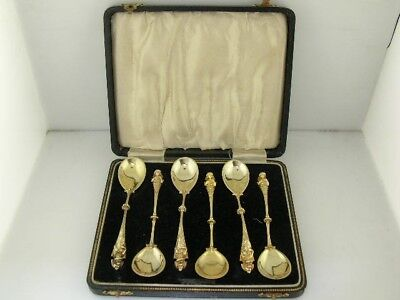 800 Silver boxed set 6 Spoons figural woman bust ornate