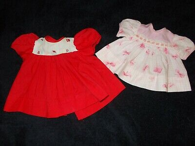 Vintage Antique Doll Dress Clothes Lot Of Two Red And Pink