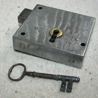 ANTIQUE SMALL GEORGIAN DOOR RIM LOCK with KEY - POLISHED STEEL & BRASS RESTORED
