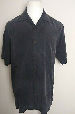Mens Tommy Bahama 100% Silk Black Button Up Shirt - Size Small Patterned EUC