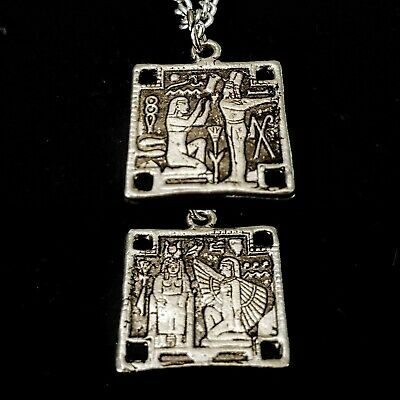 Vintage 1940s Egyptian Revival Different Double Sided Scenes Pendant So Unique!!