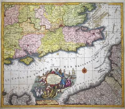 c1740 Large Antique Map - ENGLISH CHANNEL Portland to Dover Thames FRANCE RARE
