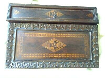 Antique Writing Travel Lap Desk Letter Box Inlaid Wood Double Ink Wells