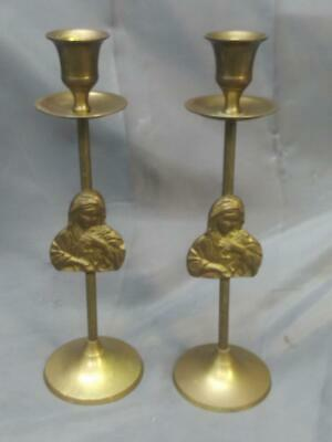 Old Vintage Metal Brass Pair of Two Set Virgin Mary Church Candlesticks Madonna