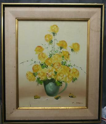 Vintage Signed Oil Painting Still Life Floral Vase of Flowers Yellow Roses Art