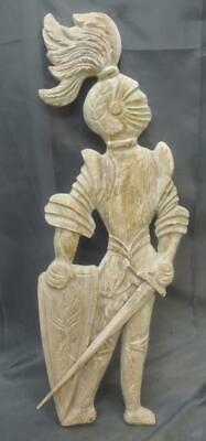 Old Carved Wood Wooden Painted Knight in Armor Sword Statue Wall Plaque Italian