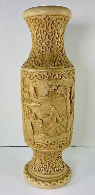 Vintage Asian Chinese Japanese Resin Vase Hand Carved Signed