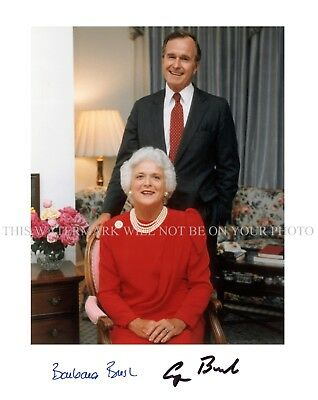GEORGE H.W AND BARBARA BUSH SIGNED AUTOGRAPH 8x10 RP WHITE HOUSE PUBLICITY PHOTO