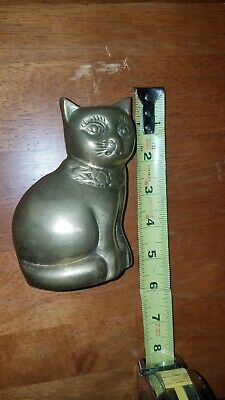 Antique Solid Brass Cat Heavy 22 ounces