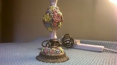 Vintage Mid 20th century brass table lamp with porcelain coloured flowers