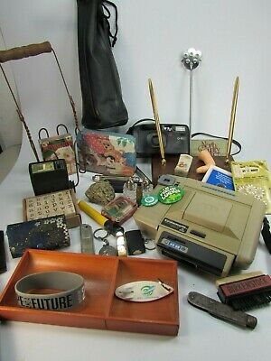 Vintage Junk Drawer Lot Camera Office Lot Desk Set 30416 Fools Gold Tin