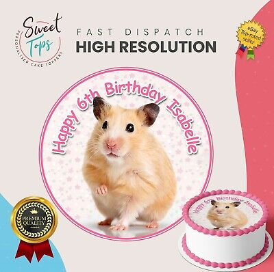 Hamster Round Edible Birthday Cake Topper Decoration Personalised