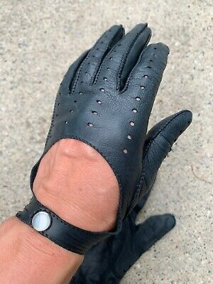Vintage Leather Driving Gloves Black Womens Short Pearlized Snaps Cutout