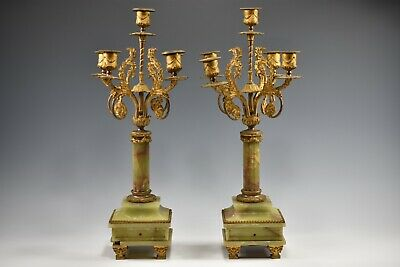 Antique Pair Of French Brass Or Gilted 5 Arm Candelabra On Green Onyx Base