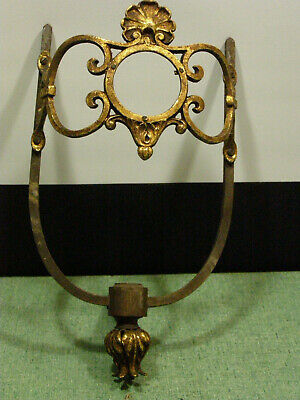 Antique Victorian Cast Brass Gas Wall Sconce Lamp Fixture