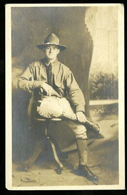 Vintage Real Photo Postcard RPPC WWI ARMY SOLDIER POSES in UNIFORM PHILADELPHIA