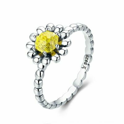 2X925 Sterling Silver Female Yellow Daisy Flower Finger Ring for Women Size 6 A2