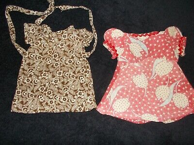Vintage Antique Doll Dress Clothes Lot Of Two Tulip Print