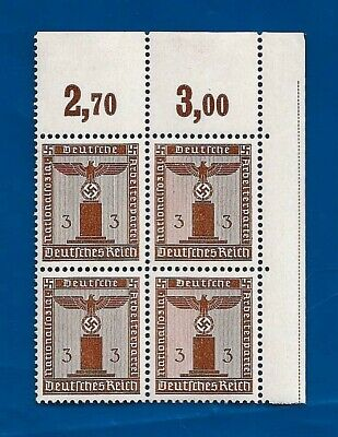 WW2 Nazi Germany Post Third Reich 3 Pf Eagle over Swastika Franchise stamp block
