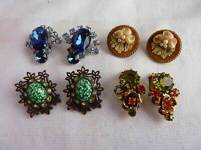 Vintage Clip On Earrings for Craft Projects and Jewelry making  Missing Stones