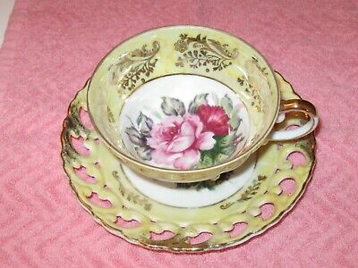 Vintage Yellow Three Footed Tea Cup & Saucer Royal Sealy China