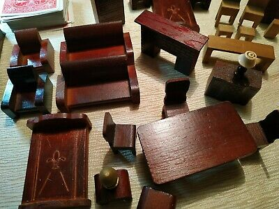 Vintage Wooden Dollhouse Furniture Lot Bed Dressers, Tables, Chairs Sofa etc