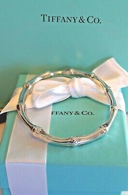 Authentic Vintage Tiffany & Co Sterling 925 Silver Bamboo Bangle Oval Bracelet