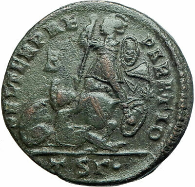 CONSTANTIUS II Gladiator Style Battle Soldiers 350AD Ancient Roman Coin i79242