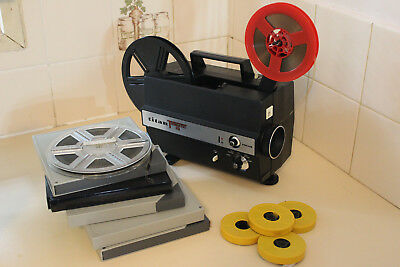 TITAN TRIMATIC IQ DUAL 8mm SILENT MOVIE PROJECTOR + MOVIE FILMS