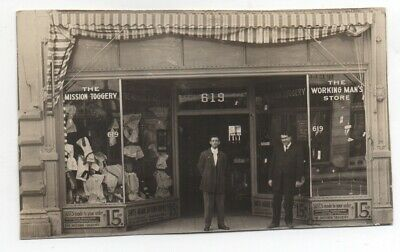 1915 Trimmed RPPC Postcard The Mission Toggery Clothing Store San Francisco CA