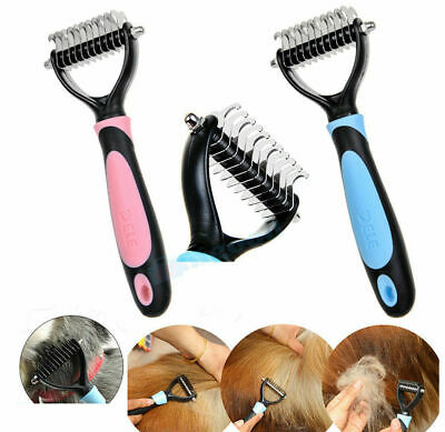 Pet Grooming Tool Dog Cat Dematting Rake Brush Dual Sided Fur Deshedding Comb US