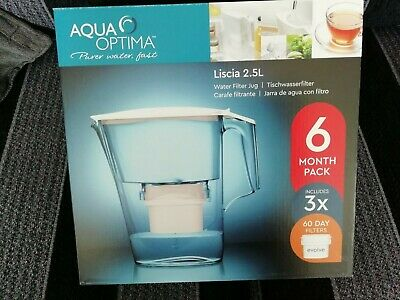 Aqua Optima Liscia Water Filter Jug with 6 Months = 3 x 60 Day Evolve-X Filters