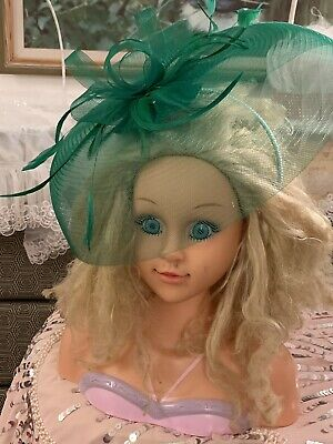 LADIES FASCINATOR GREEN HEAD PIECES RACE DAY Wedding Fascinators Sinamay RRP£150