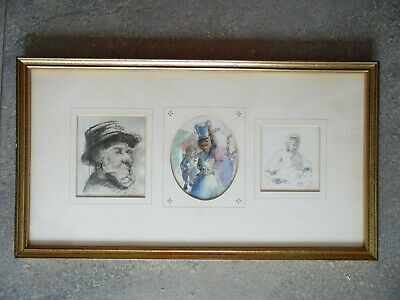 Three Antique Portraits of Edwardian Household Characters by Ada Galton. Listed