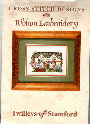 BARGAIN!! Stone Cottage Counted Cross Stitch + Ribbon Embroidery Kit Flowers