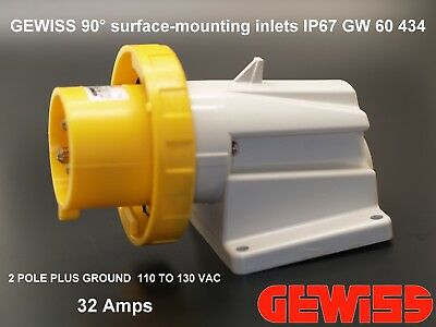 GEWISS 90° surface-mounting inlet IP67 GW 60 434 2 POLE PLUS GROUND 110 TO 13