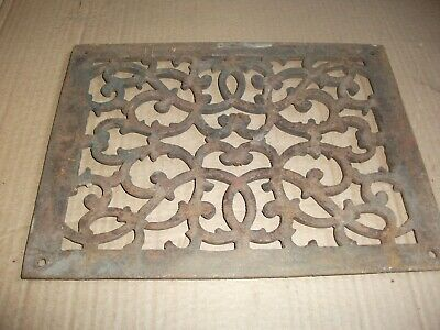 Heat Air Grate Wall Register 9 x 12 approx. OA   8 x 10 wall opening FANCY! LQQK