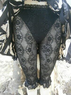 BLACK BAROQUE LACE BLOOMERS Leggings Ruffled Lace Trim Gothic Steampunk OOAK