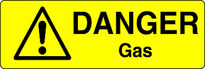 Danger Gas Health And Safety Warning Sticker Latex Printed Mark006