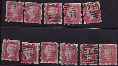 plate-90 SG43 1D Penny Red GB Victorian postage stamp