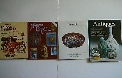 Lot Of 4 Collecting Antique Books-Antique Metalware/brass & Copper/enamels/antiq